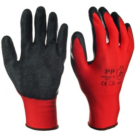 Rękawice robocze powlekane lateksem Rtela czerwono - czarna